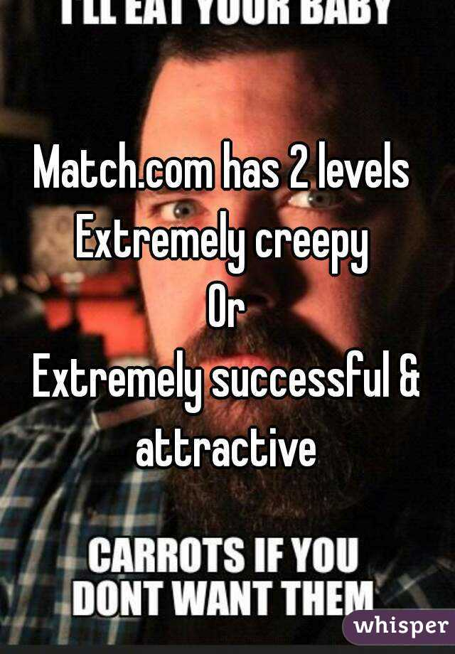 Match.com has 2 levels  Extremely creepy  Or Extremely successful & attractive