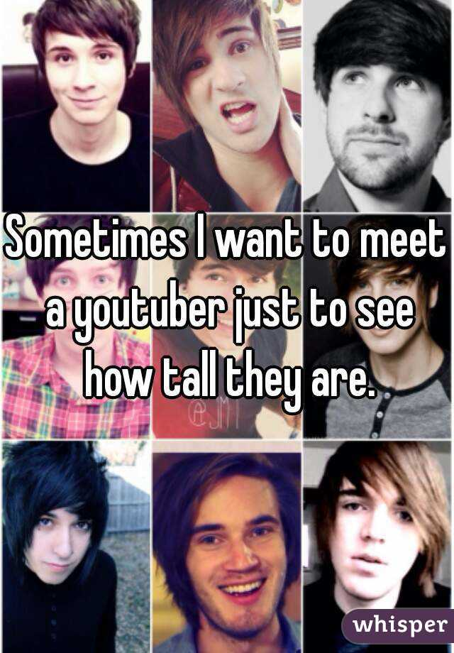 Sometimes I want to meet a youtuber just to see how tall they are.