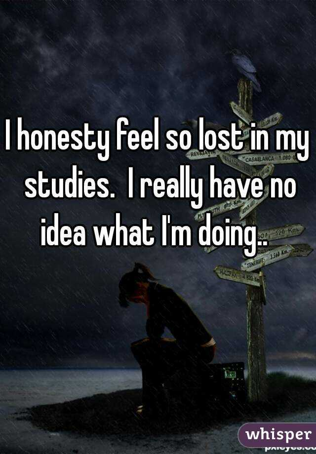 I honesty feel so lost in my studies.  I really have no idea what I'm doing..