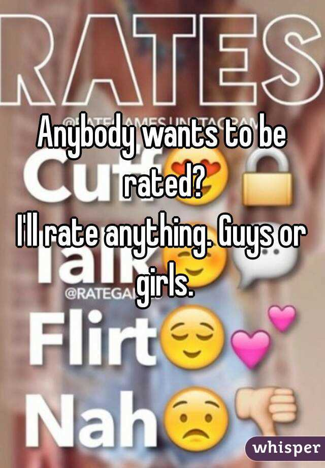 Anybody wants to be rated? I'll rate anything. Guys or girls.