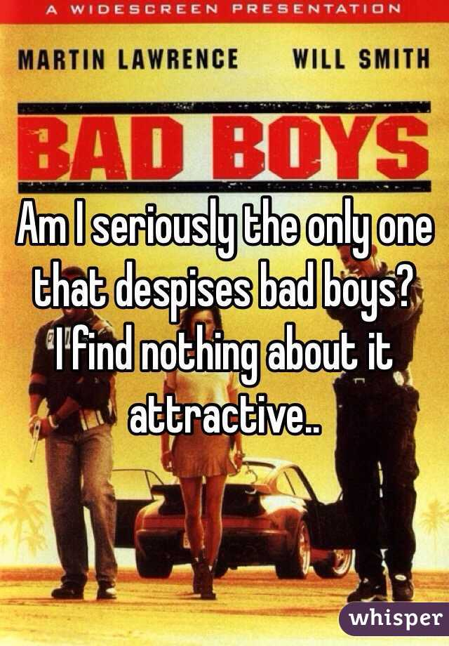 Am I seriously the only one that despises bad boys? I find nothing about it attractive..