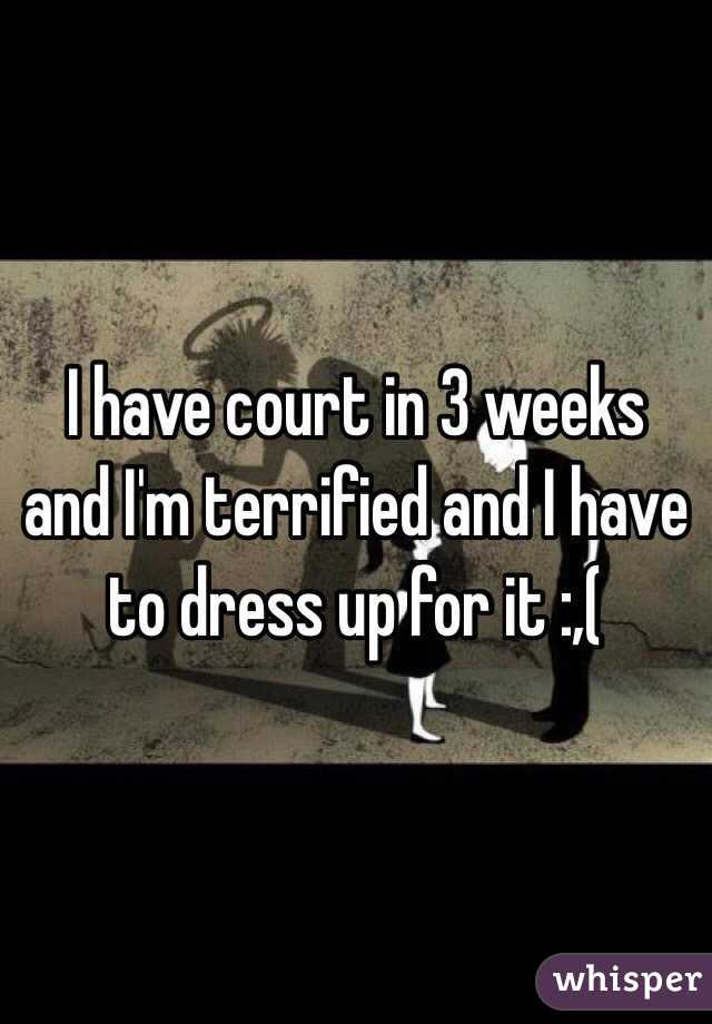 I have court in 3 weeks and I'm terrified and I have to dress up for it :,(