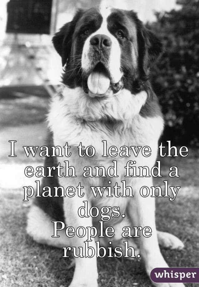 I want to leave the earth and find a planet with only dogs.  People are rubbish.