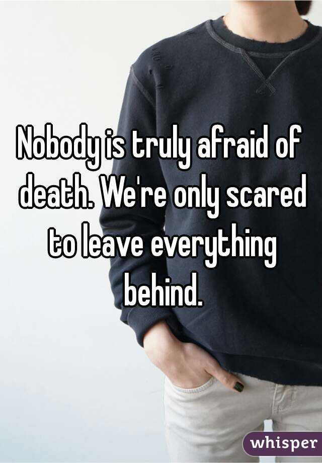 Nobody is truly afraid of death. We're only scared to leave everything behind.