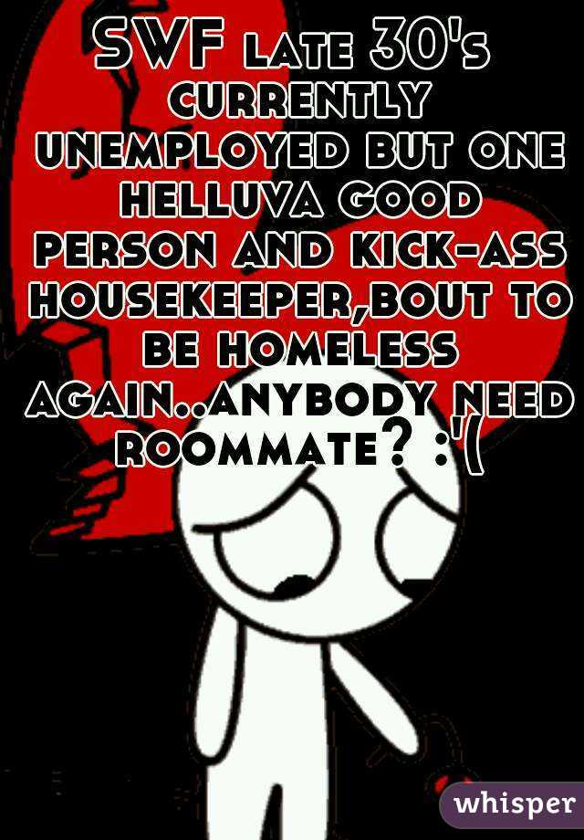 SWF late 30's currently unemployed but one helluva good person and kick-ass housekeeper,bout to be homeless again..anybody need roommate? :'(