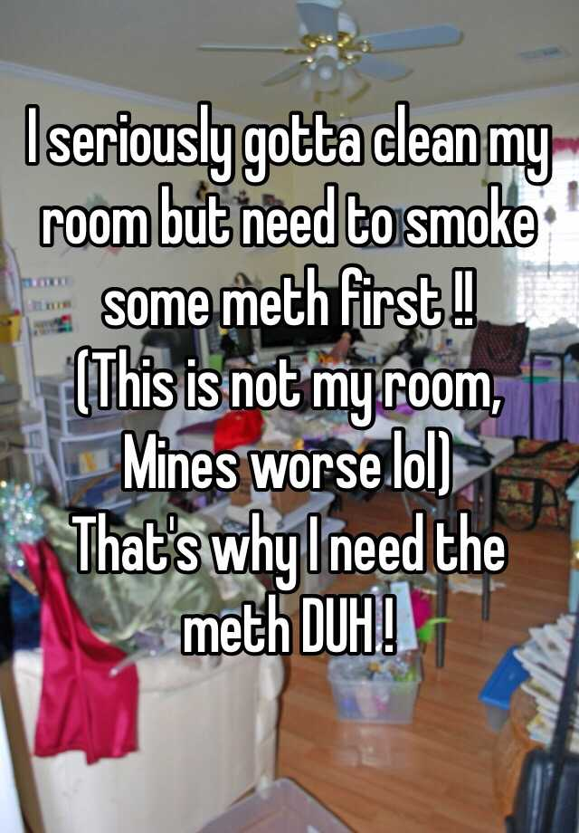 I seriously gotta clean my room but need to smoke some meth first ...