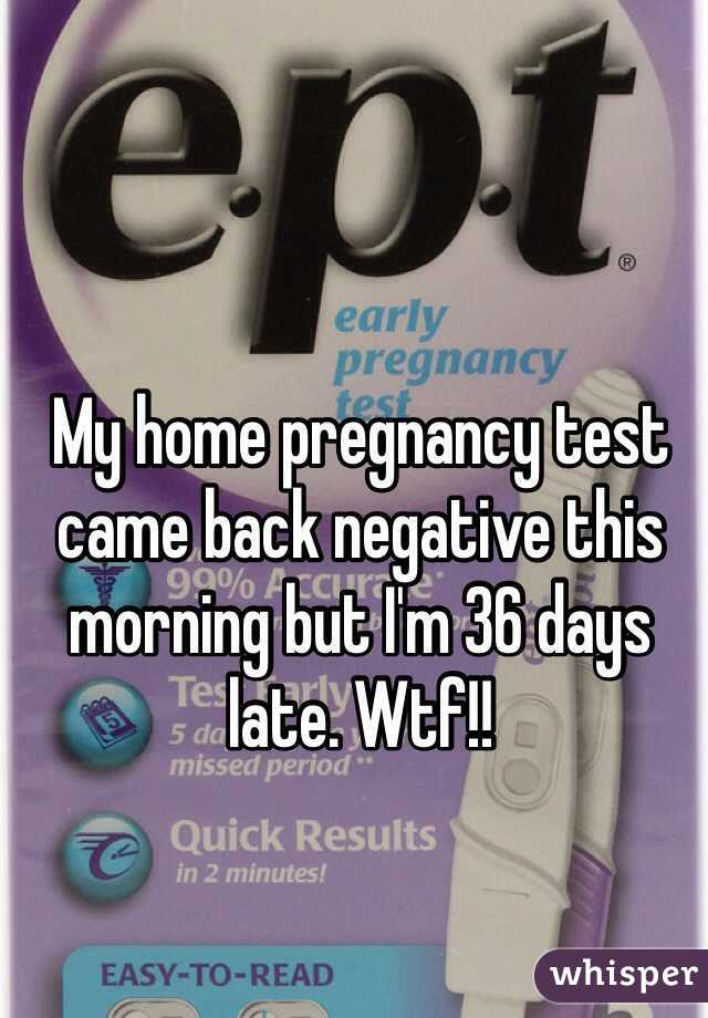 My Home Pregnancy Test Came Back Negative This Morning But Im 36 Days Late