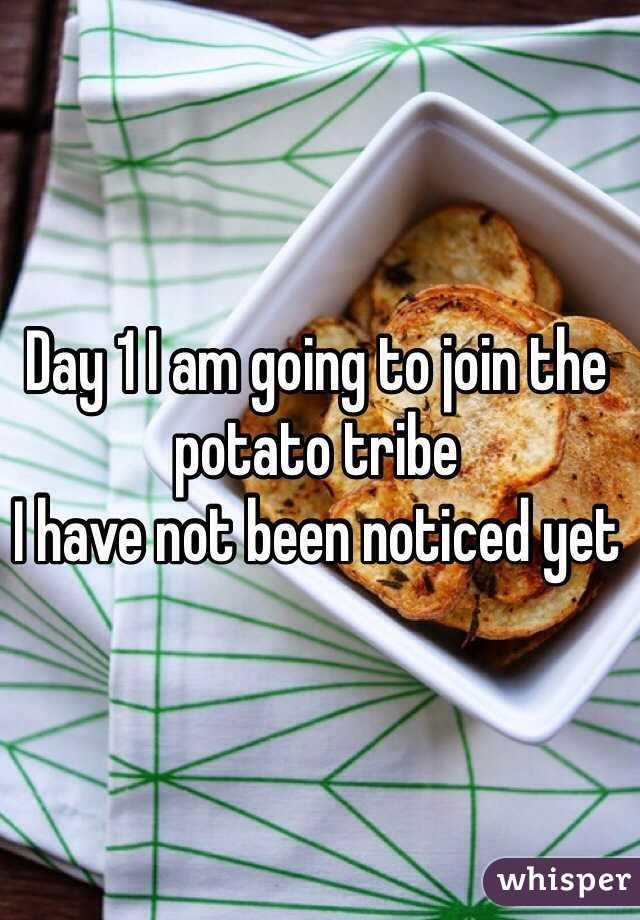 Day 1 I am going to join the potato tribe I have not been noticed yet