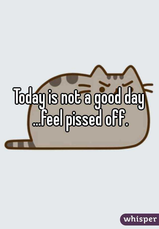 Today is not a good day ...feel pissed off.