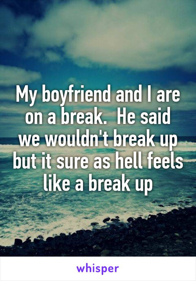 My boyfriend and I are on a break.  He said we wouldn't break up but it sure as hell feels like a break up