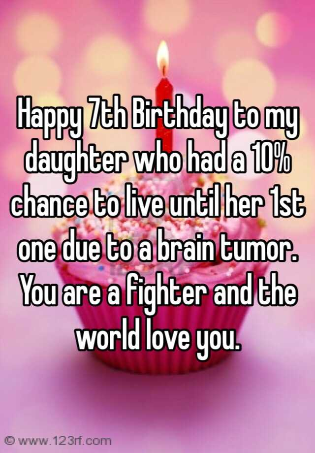 Happy 7th Birthday To My Daughter Who Had A 10 Chance To Live Until Her 1st One Due To A Brain Tumor You Are A Fighter And The World Love You