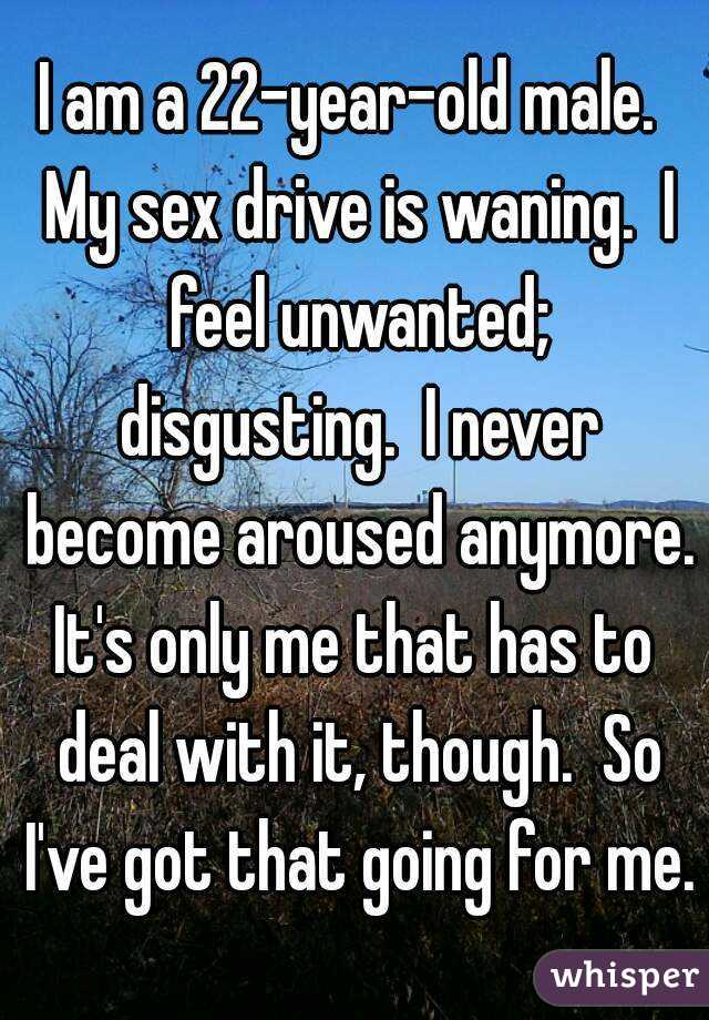 I am a 22-year-old male.  My sex drive is waning.  I feel unwanted; disgusting.  I never become aroused anymore. It's only me that has to deal with it, though.  So I've got that going for me.