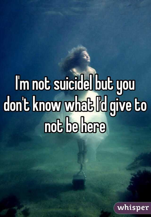I'm not suicidel but you don't know what I'd give to not be here