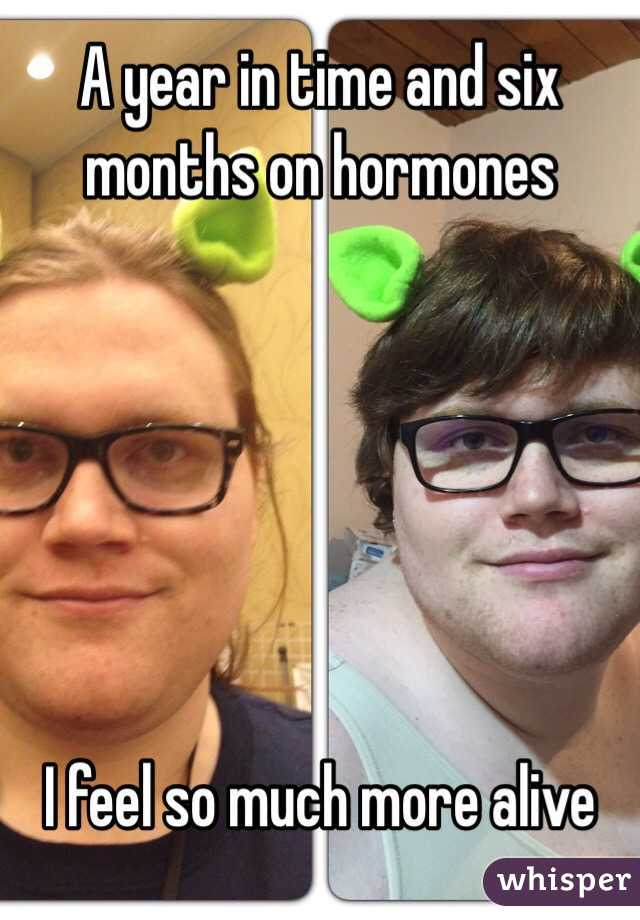 A year in time and six months on hormones       I feel so much more alive