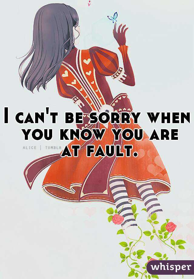 I can't be sorry when you know you are at fault.