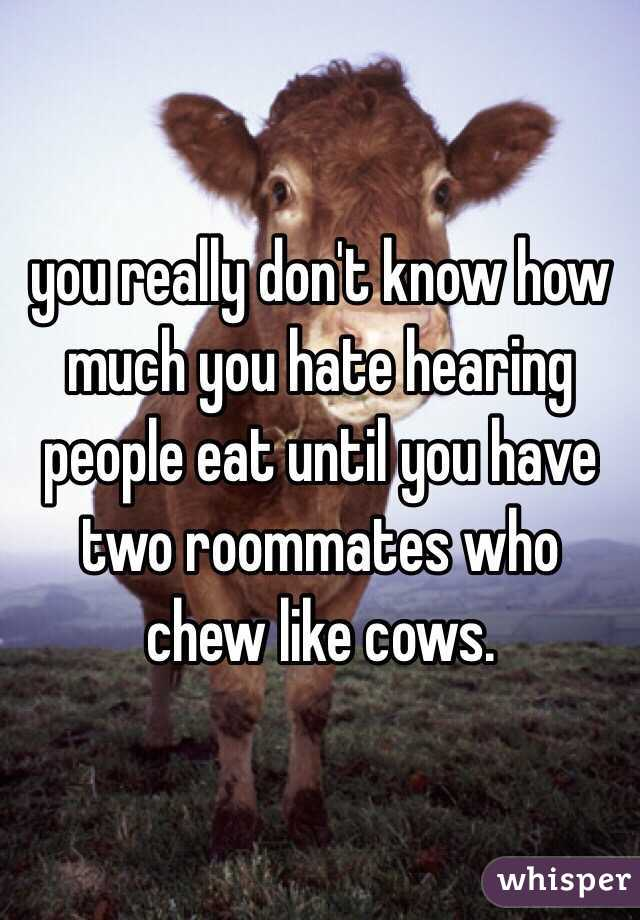 you really don't know how much you hate hearing people eat until you have two roommates who chew like cows.