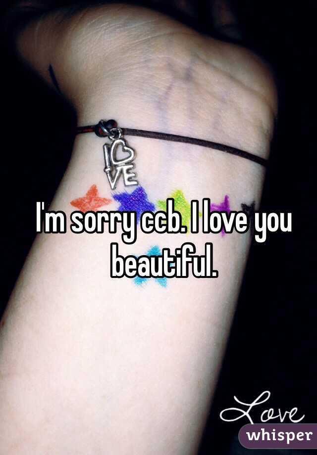 I'm sorry ccb. I love you beautiful.