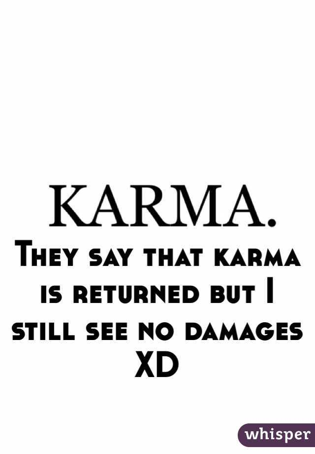 They say that karma is returned but I still see no damages XD