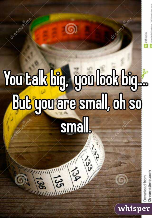 You talk big,  you look big.... But you are small, oh so small.