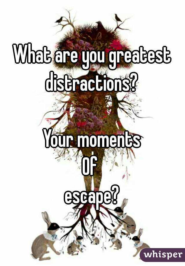 What are you greatest distractions?   Your moments Of  escape?