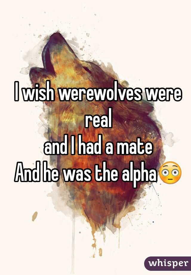 I wish werewolves were real and I had a mate And he was the alpha😳