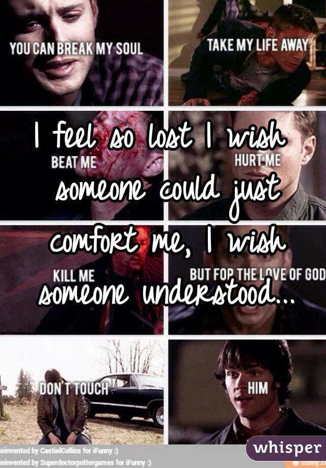 I feel so lost I wish someone could just comfort me, I wish someone understood...