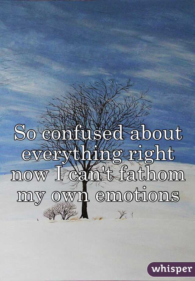 So confused about everything right now I can't fathom my own emotions