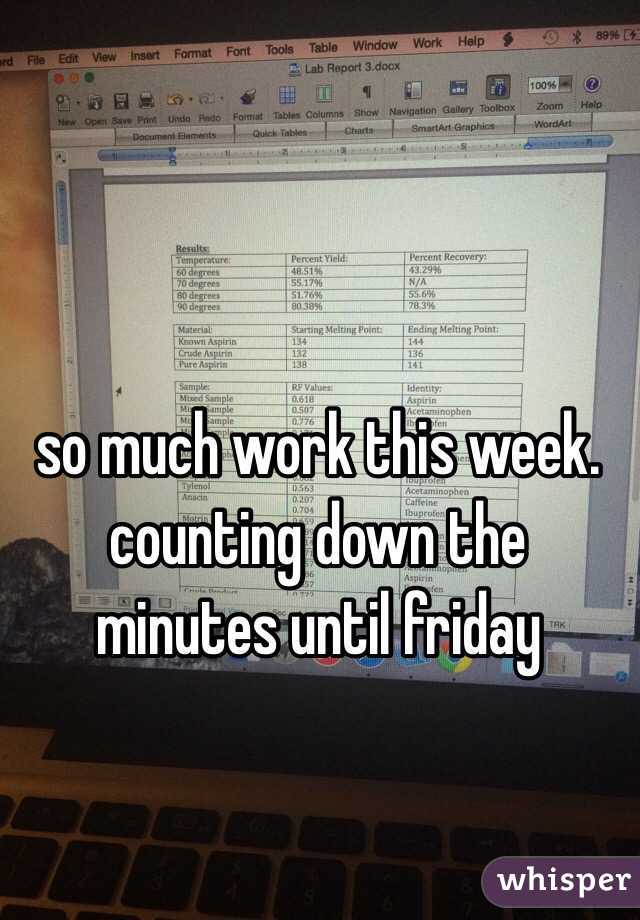 so much work this week. counting down the minutes until friday