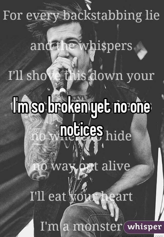 I'm so broken yet no one notices