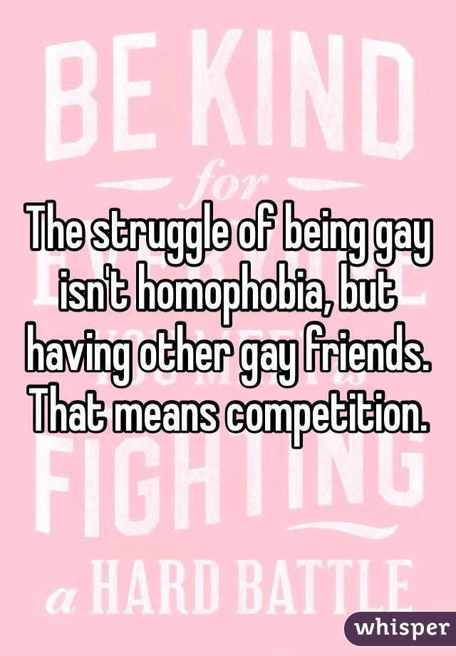 The struggle of being gay isn't homophobia, but having other gay friends. That means competition.