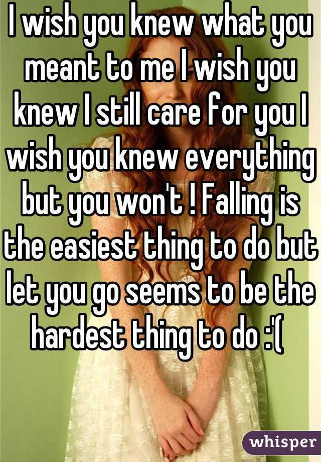 I wish you knew what you meant to me I wish you knew I still care for you I wish you knew everything but you won't ! Falling is the easiest thing to do but let you go seems to be the hardest thing to do :'(