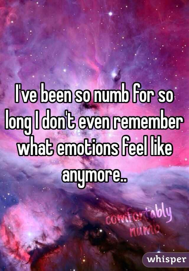 I've been so numb for so long I don't even remember what emotions feel like anymore..
