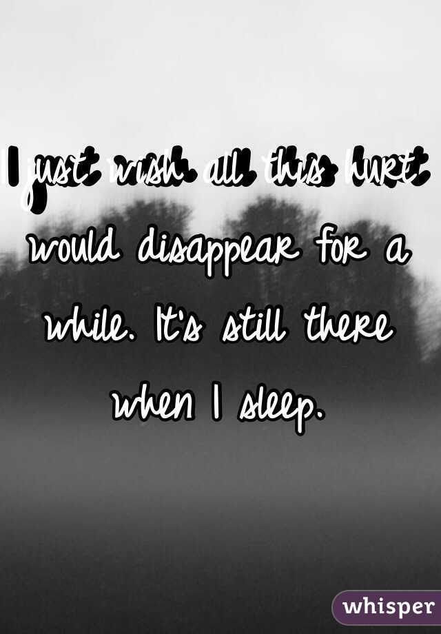 I just wish all this hurt would disappear for a while. It's still there when I sleep.