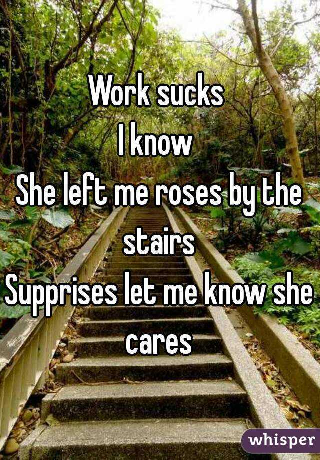 Work sucks  I know  She left me roses by the stairs  Supprises let me know she cares