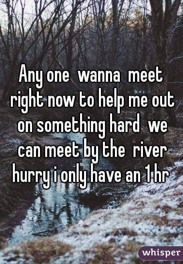 Any one  wanna  meet right now to help me out on something hard  we can meet by the  river hurry i only have an 1 hr