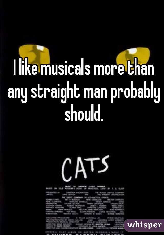 I like musicals more than any straight man probably should.
