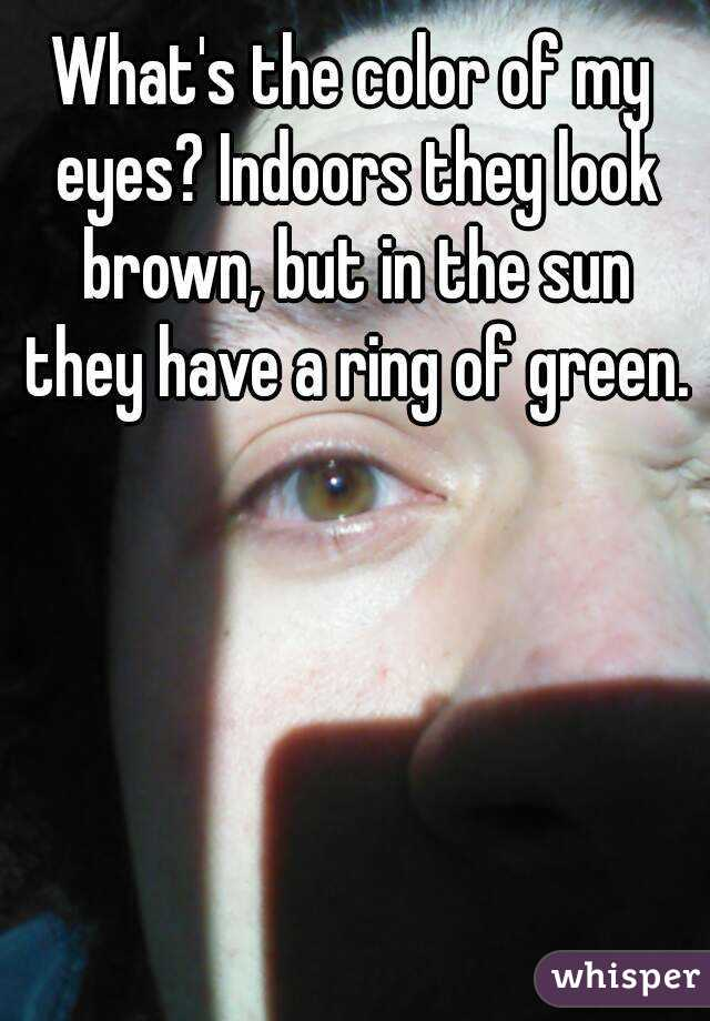 What's the color of my eyes? Indoors they look brown, but in the sun they have a ring of green.