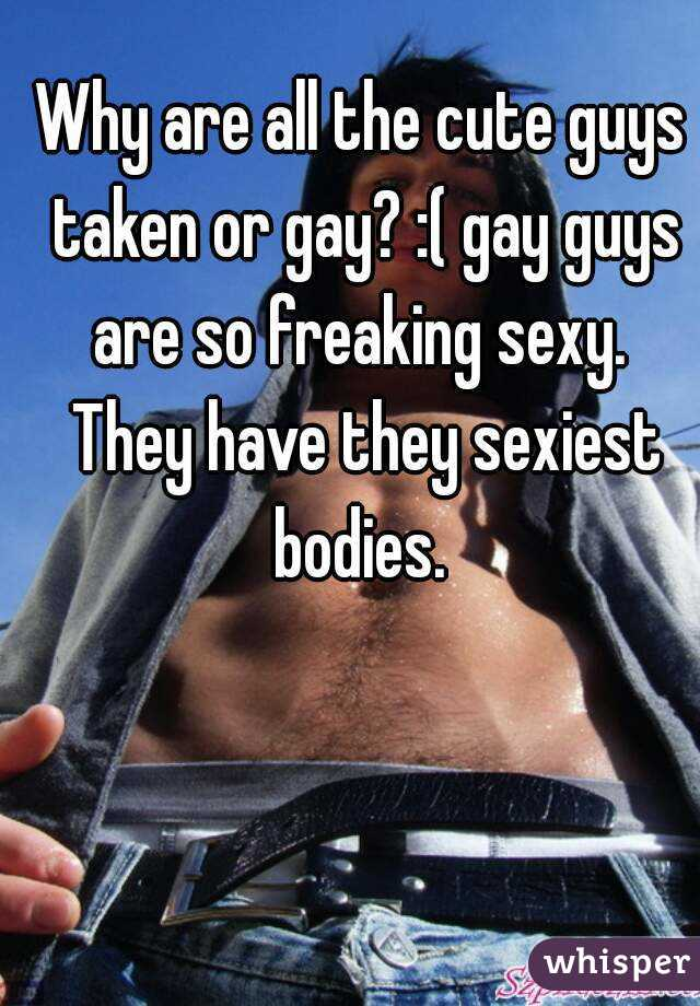 Why are all the cute guys taken or gay? :( gay guys are so freaking sexy.  They have they sexiest bodies.