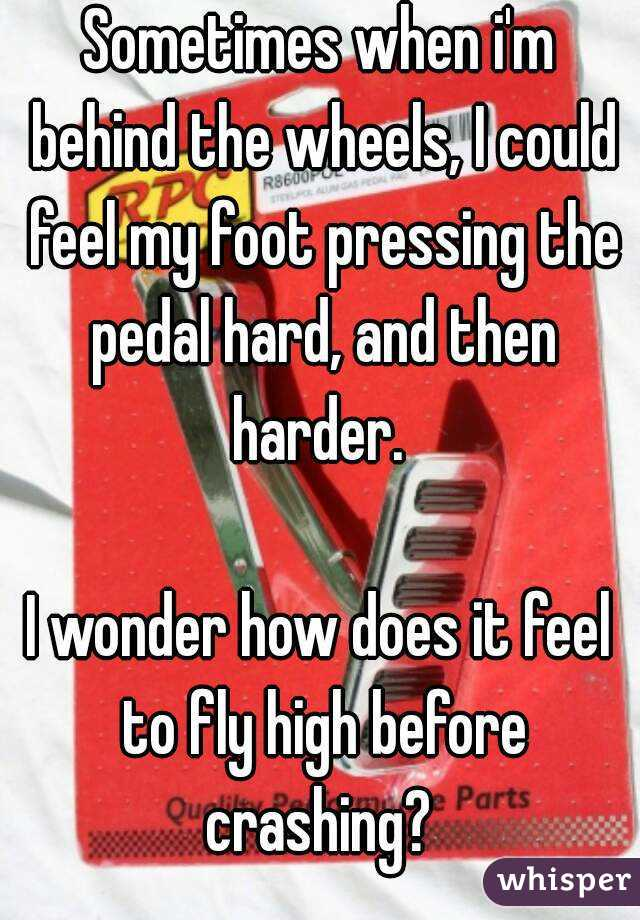 Sometimes when i'm behind the wheels, I could feel my foot pressing the pedal hard, and then harder.   I wonder how does it feel to fly high before crashing?