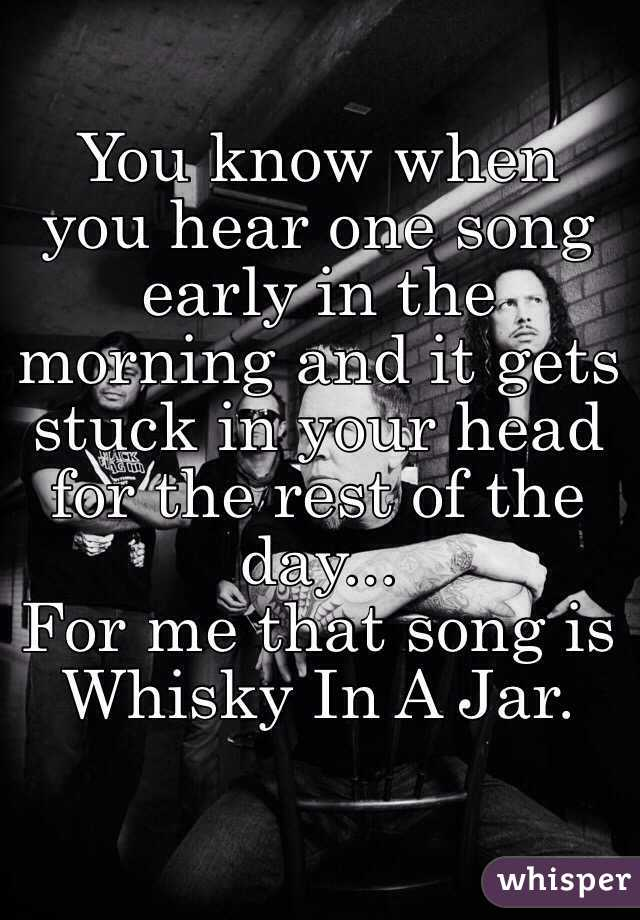 You know when you hear one song early in the morning and it gets stuck in your head for the rest of the day... For me that song is Whisky In A Jar.