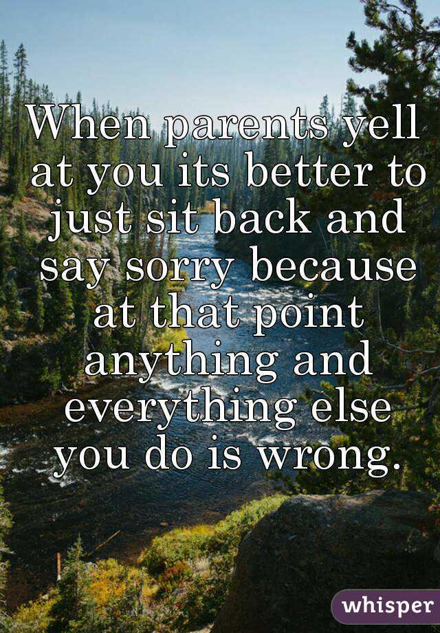 When parents yell at you its better to just sit back and say sorry because at that point anything and everything else you do is wrong.