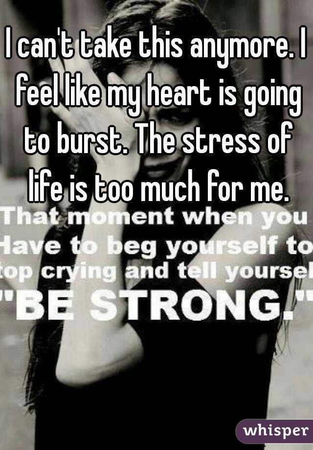 I can't take this anymore. I feel like my heart is going to burst. The stress of life is too much for me.