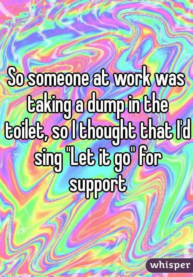 "So someone at work was taking a dump in the toilet, so I thought that I'd sing ""Let it go"" for support"