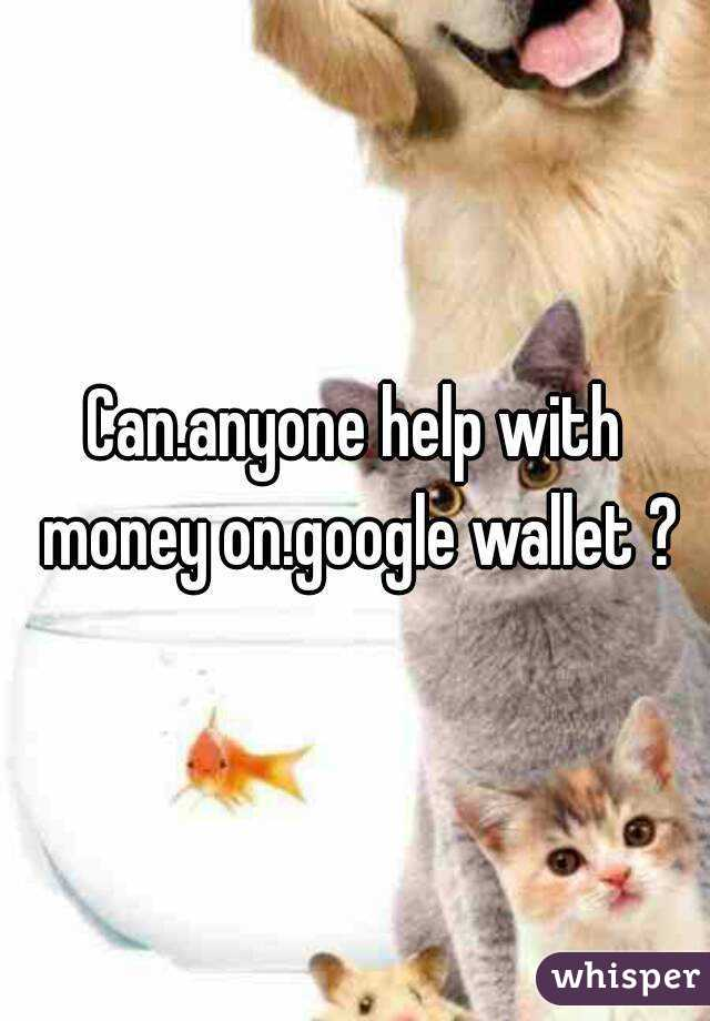 Can.anyone help with money on.google wallet ?