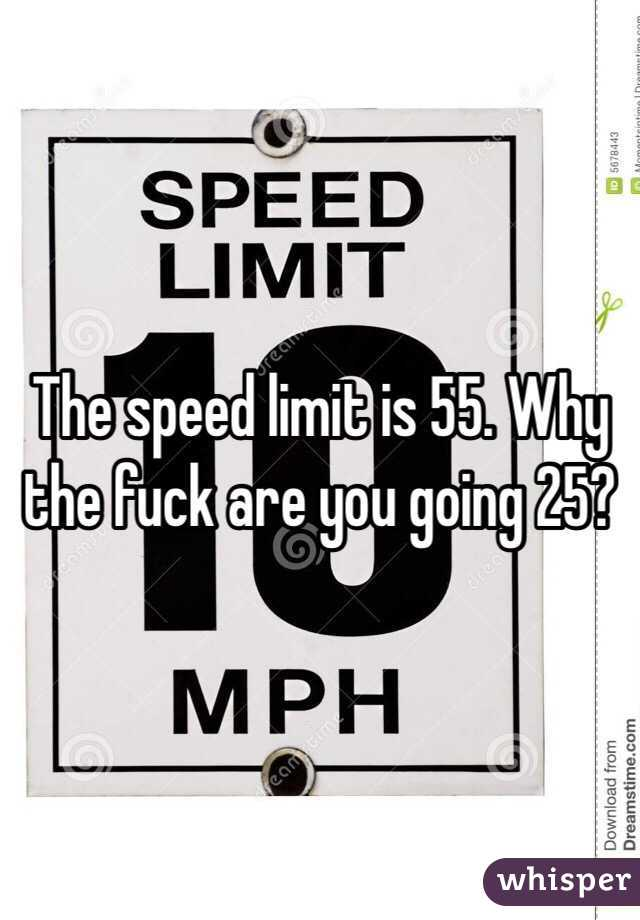 The speed limit is 55. Why the fuck are you going 25?