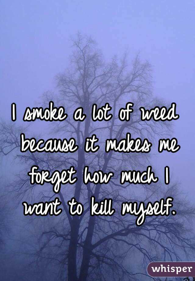 I smoke a lot of weed because it makes me forget how much I want to kill myself.