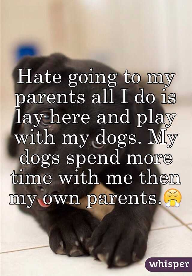Hate going to my parents all I do is lay here and play with my dogs. My dogs spend more time with me then my own parents.😤