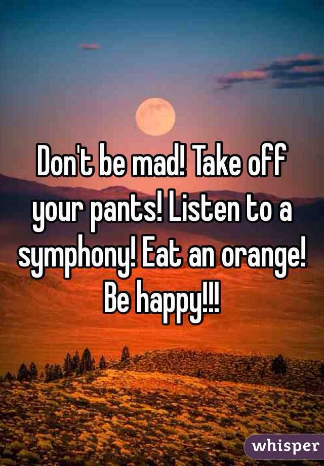 Don't be mad! Take off your pants! Listen to a symphony! Eat an orange! Be happy!!!