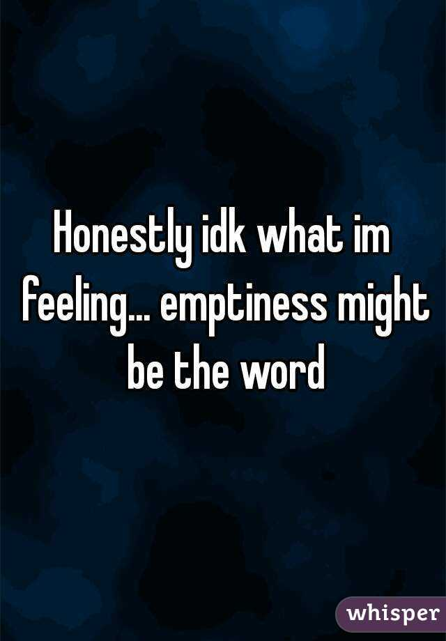 Honestly idk what im feeling... emptiness might be the word