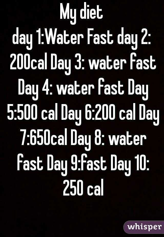My diet day 1:Water Fast day 2: 200cal Day 3: water fast Day